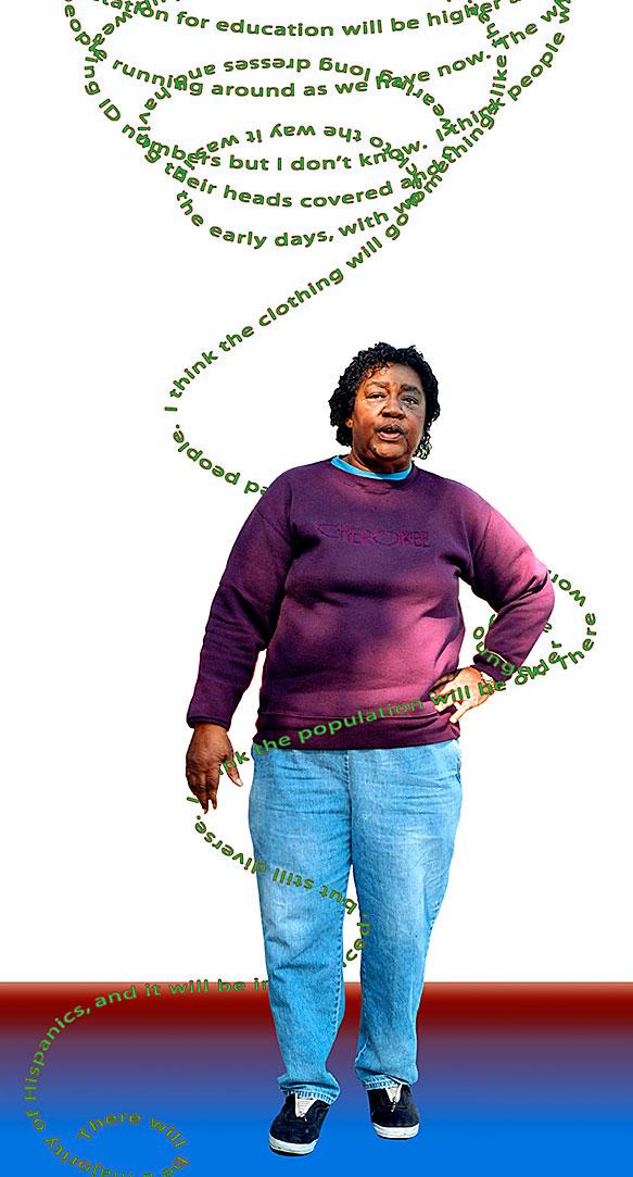 Dorothy Kumar, Director, Pomona Neighborhood Center, Pomona, CA, 2002-2003. Digital type C color photographic print, 40x12 in. (detail)